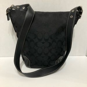 Coach Black Signature Fabric Carly Bucket/Shoulder